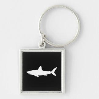 Requin de natation porte-clé carré argenté