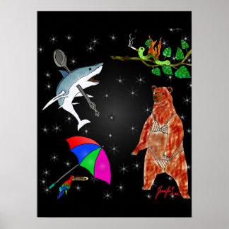 Requin, perroquet, ours et arpenteuse dans posters