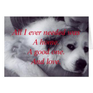 Rescue a needy animal. note card