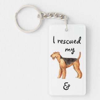 Rescue Airedale Double-Sided Rectangular Acrylic Keychain