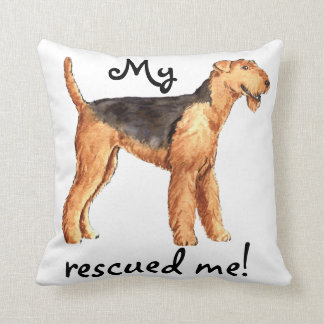 Rescue Airedale Throw Pillow