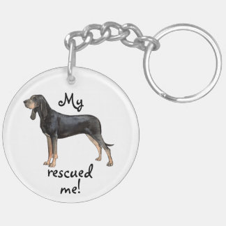 Rescue Black and Tan Coonhound Double-Sided Round Acrylic Keychain