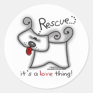 Rescue Dog ... It's A Love Thing Classic Round Sticker