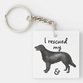 Rescue Flat-Coated Retriever Double-Sided Square Acrylic Keychain