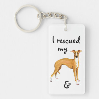 Rescue Italian Greyhound Keychain