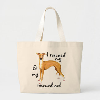 Rescue Italian Greyhound Large Tote Bag