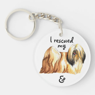 Rescue Lhasa Apso Double-Sided Round Acrylic Keychain