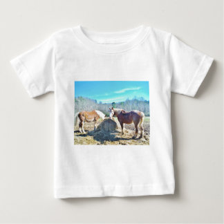 Rescued Draft Horses eating hay Baby T-Shirt