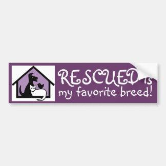 Rescued is my favorite breed! bumper sticker