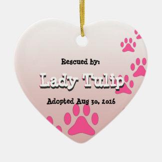 Rescued Puppy Heart Ceramic Heart Ornament