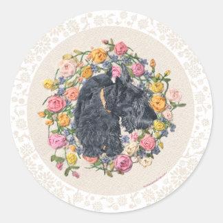 Rescued Scottie Bonnie on Floral Background Round Sticker