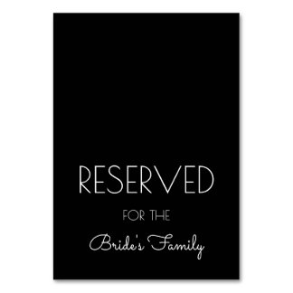 Reserved Black and White Wedding Table Signs Card