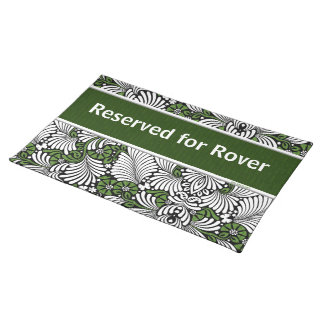 Reserved Dinner Spot with Pet's Name Green Placemat
