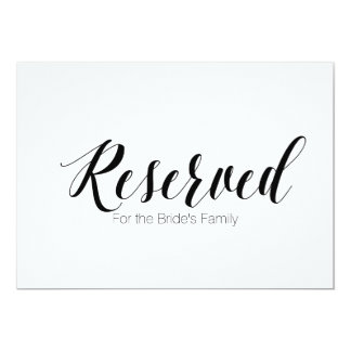 """""""Reserved for Bride's Family"""" Wedding Sign Card"""