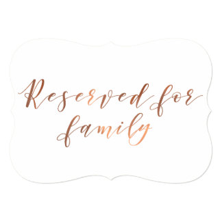 Reserved for Family copper-look script Card