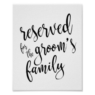 Reserved for Groom's Family 8x10 Wedding Sign