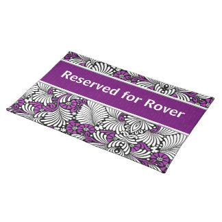 Reserved for Pet's Name Purple and White Placemat