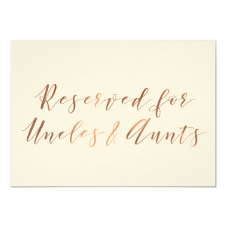 Reserved for Uncles & Aunts copper-look script Card