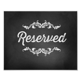 Reserved Script Sign Wedding or Party 8x10 Poster