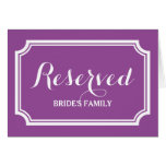 Reserved seating or table sign cards for wedding