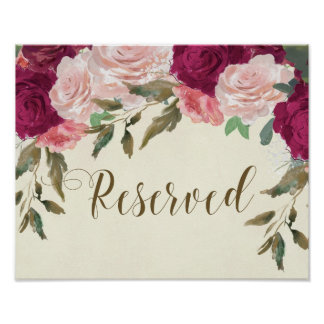 reserved sign wedding floral pink burgundy
