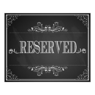 """""""Reserved"""" sign wedding or Party chalkboard print"""
