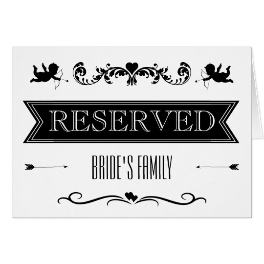 Reserved Table / Seating Sign Typography Wedding Card