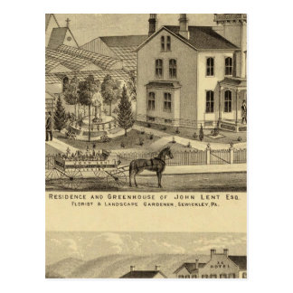 Residence and Greenhouse of John Lent Sewickley Postcard