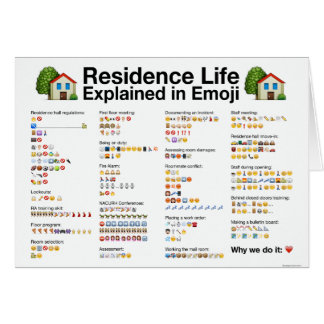 Residence Life Explained in Emoji Greeting Card
