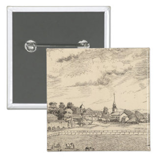 Residence, stables, and driving park 2 inch square button