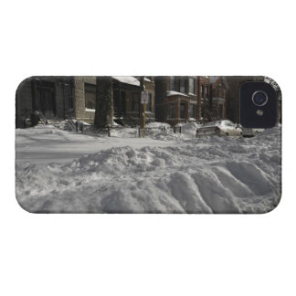 Residential urban (city) street on sunny winter 2 iPhone 4 Case-Mate cases