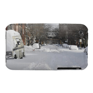 Residential urban (city) street on sunny winter iPhone 3 cases