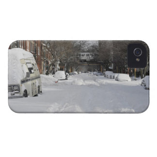 Residential urban (city) street on sunny winter iPhone 4 case