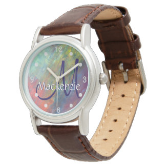 Resilient Bling | Name Watercolor Rainbow Abstract Watch