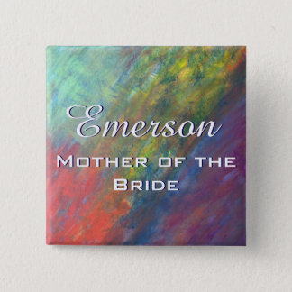 Resilient ROYGBIV Abstract Rainbow Bridal Party 2 Inch Square Button
