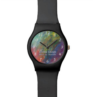 Resilient ROYGBIV Abstract Rainbow Bridal Party Watches