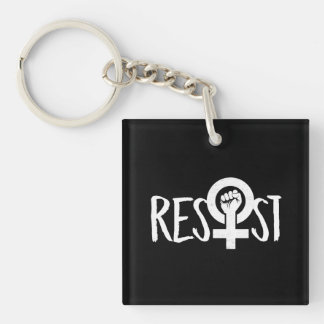 RESIST AND FIGHT --  white - Keychain