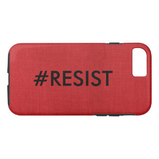#Resist, black text on Red Linen Photo iPhone 7 Case