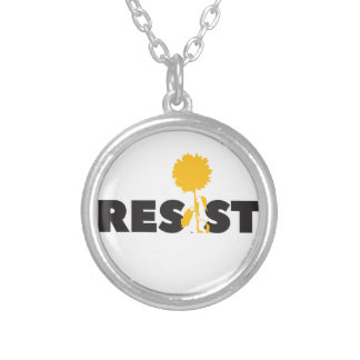 resist flower silver plated necklace