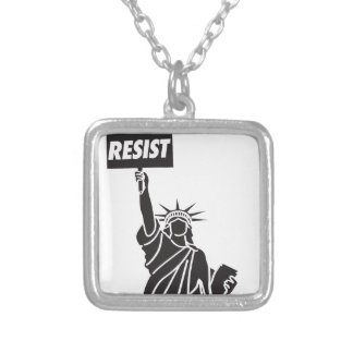 Resist_for_Liberty Silver Plated Necklace
