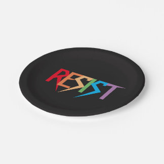 Resist in Rainbow Colors Paper Plates