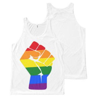 #Resist LGBT Rainbow Raised Fist Protest All-Over-Print Tank Top