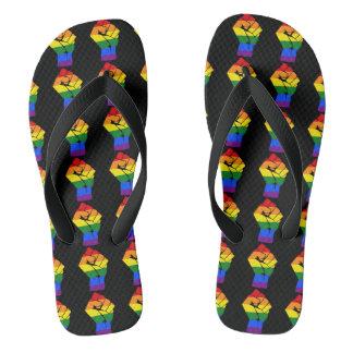 #Resist LGBT Rainbow Raised Fist Protest Flip Flops