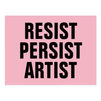 Resist Persist Artist Resistance Pink Postcard