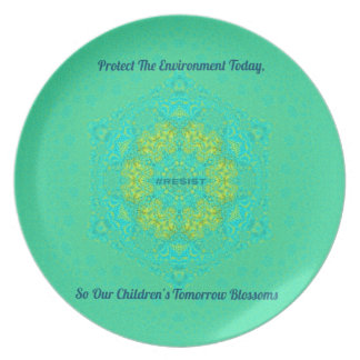 #Resist Protect Environment Anti-Trump Mandala Plate