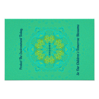 #Resist Protect Environment Artistic Green Mandala Poster