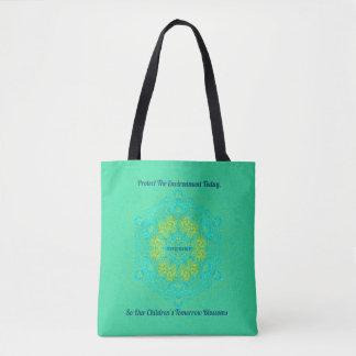 #Resist Protect Environment Artistic Green Mandala Tote Bag