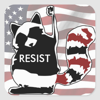 Resist Raccoon American Flag Stickers