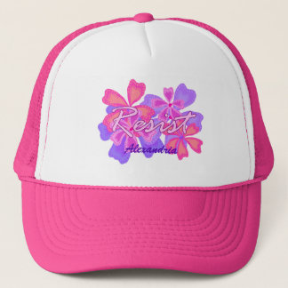 Resist | Resistance Pink Floral Optional Name Trucker Hat