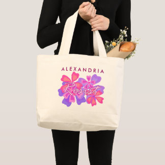 Resist | Resistance Pink Floral Personalized Large Tote Bag